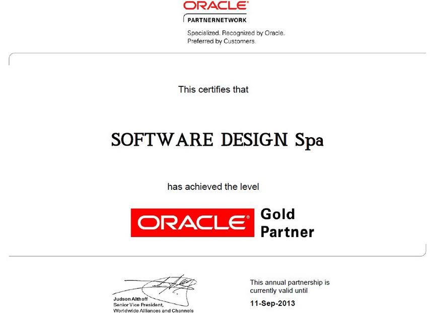 In Italia uno dei partner certificati Oracle è l'azienda Software Design S.P.A
